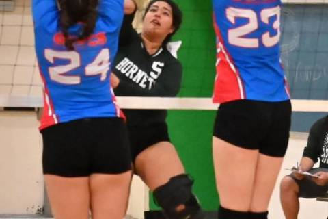 Richard Stephens/Special to the Pahrump Valley Times Beatty's Adriana Gil goes up for a kill ag ...