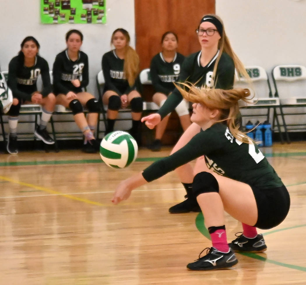 Richard Stephens/Special to the Pahrump Valley Times Cameron Stephenson goes down for a dig dur ...