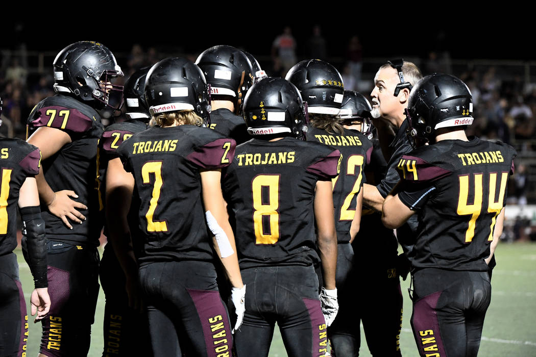 Peter Davis/Special to the Pahrump Valley Times Coach Joe Clayton and the Pahrump Valley High S ...