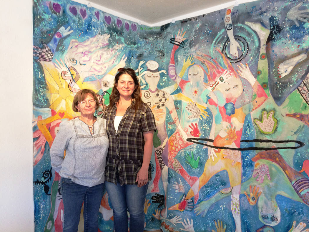 Special to the Pahrump Valley Times Mary Burke King and Lara Murray in front of Cosmic Communit ...