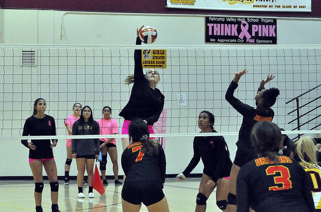 Horace Langford Jr./Pahrump Valley Times Kylie Stritenberger goes up for one of her 7 kills Mon ...