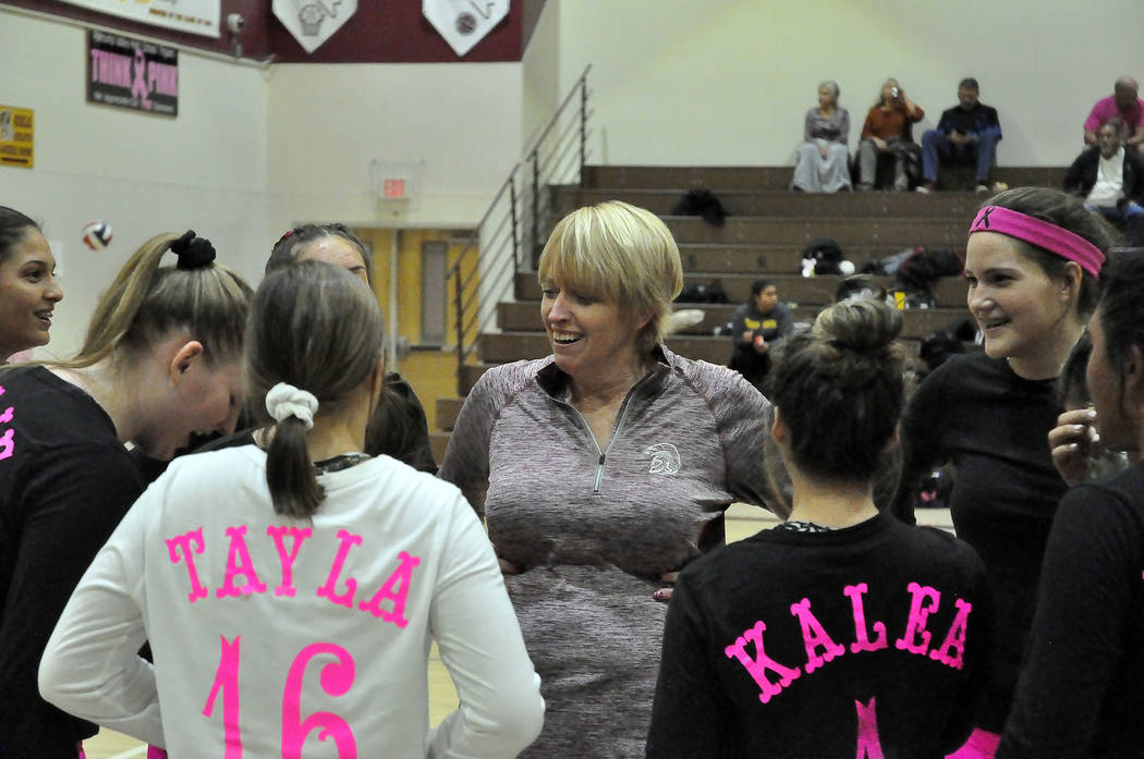 Horace Langford Jr./Pahrump Valley Times Pahrump Valley High School girls volleyball coach Jill ...
