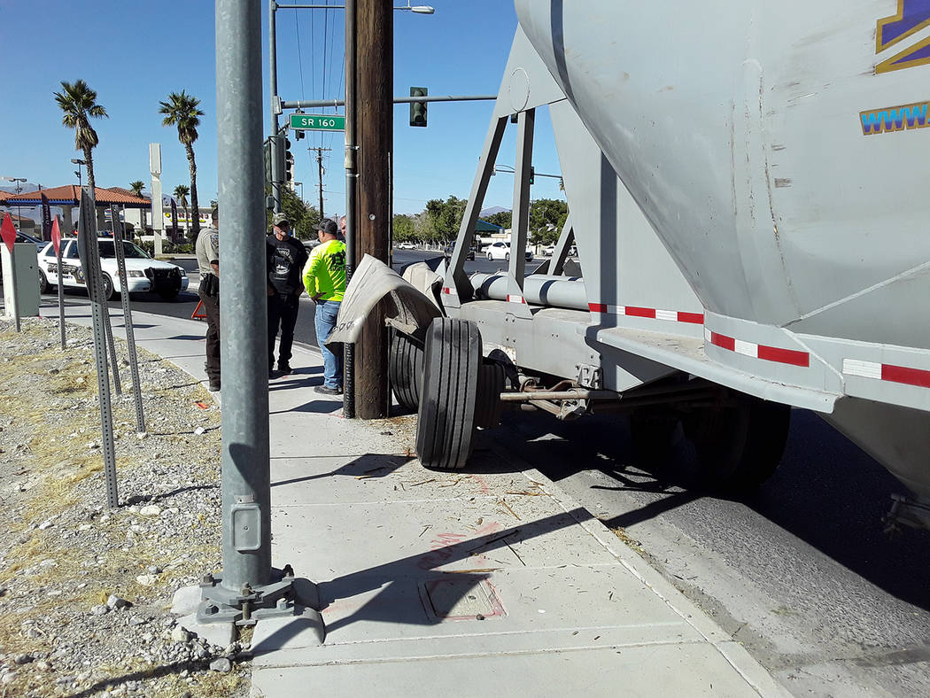 Selwyn Harris/Pahrump Valley Times No injuries were reported after the driver of a semi-truck s ...