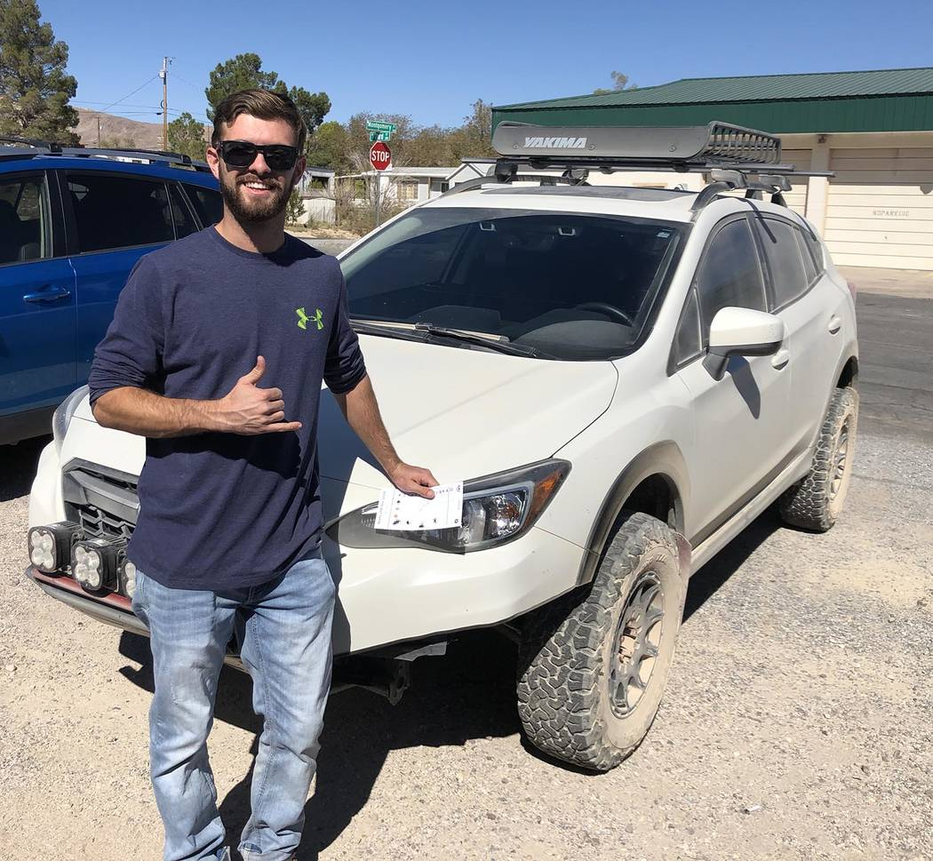 Tom Rysinski/Pahrump Valley Times Anthony Bellina of Las Vegas with his Subaru Crosstrek that d ...
