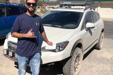 Tom Rysinski/Pahrump Valley Times Anthony Bellina of Las Vegas with his Subaru Crosstrek that d ...