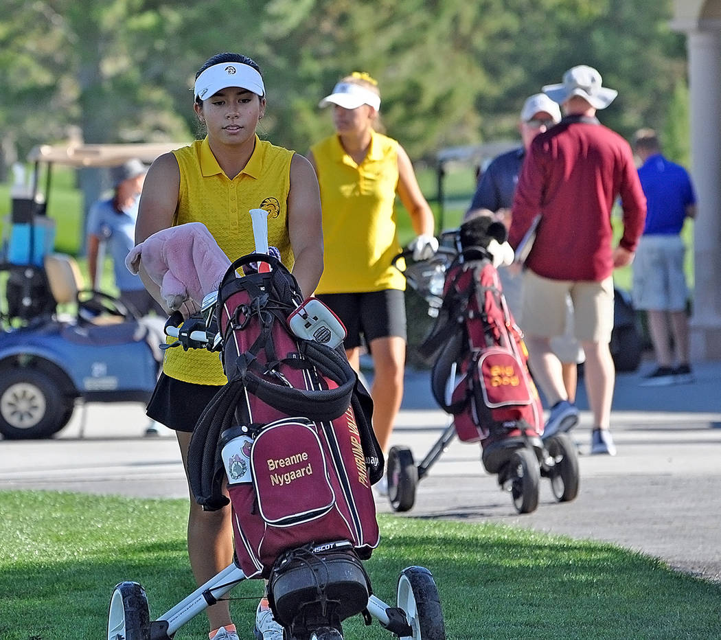 Horace Langford Jr./Pahrump Valley Times Pahrump Valley junior Breanne Nygaard heads to the 1st ...
