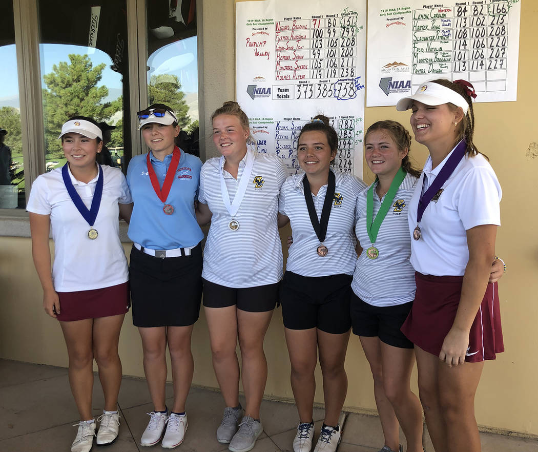 Tom Rysinski/Pahrump Valley Times Medalists at Mountain Falls Golf Club at the conclusion of th ...