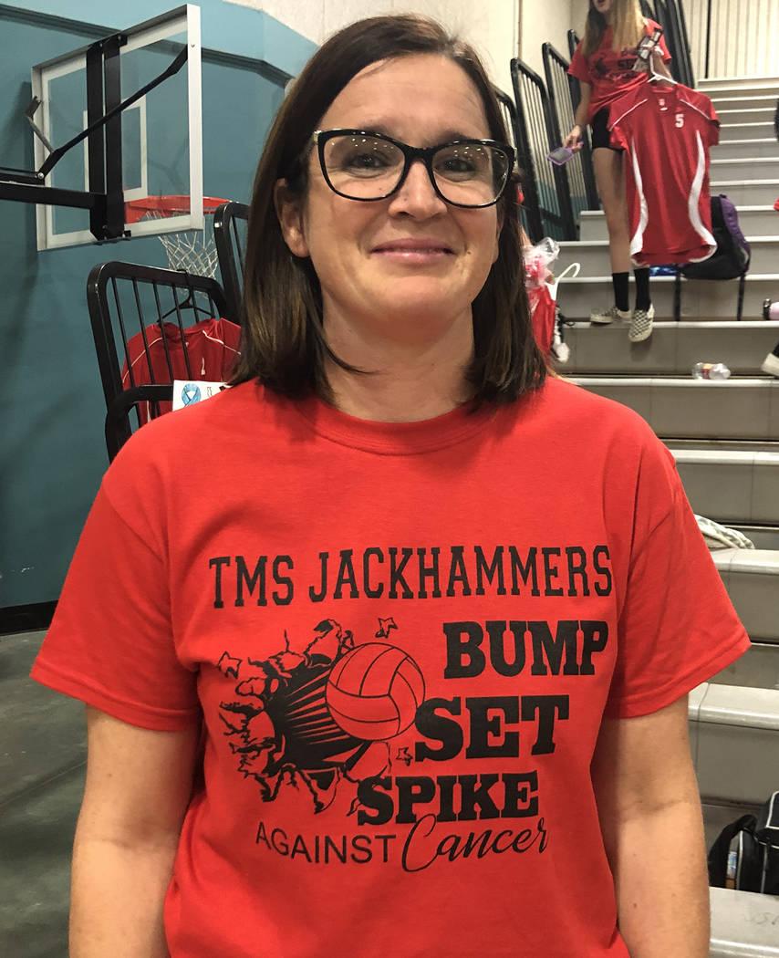 Tom Rysinski/Pahrump Valley Times Tonopah Middle School volleyball coach Dakota Blackburn shows ...