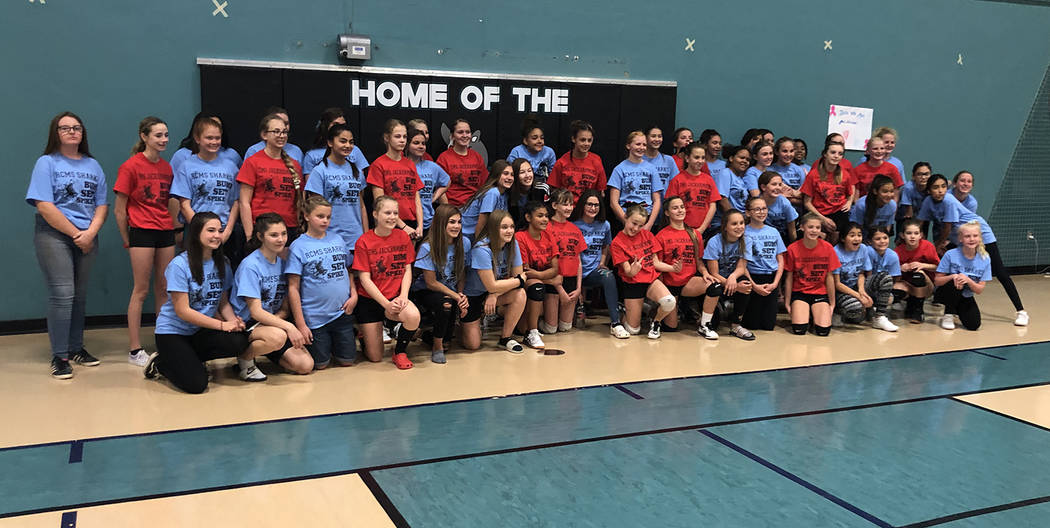 Tom Rysinski/Pahrump Valley Times Tonopah Middle School players, in red, and Rosemary Clarke Mi ...