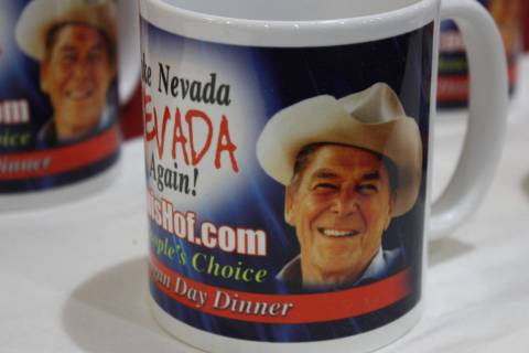 Robin Hebrock/Pahrump Valley Times Momentos featuring President Ronald Reagan's image were a po ...