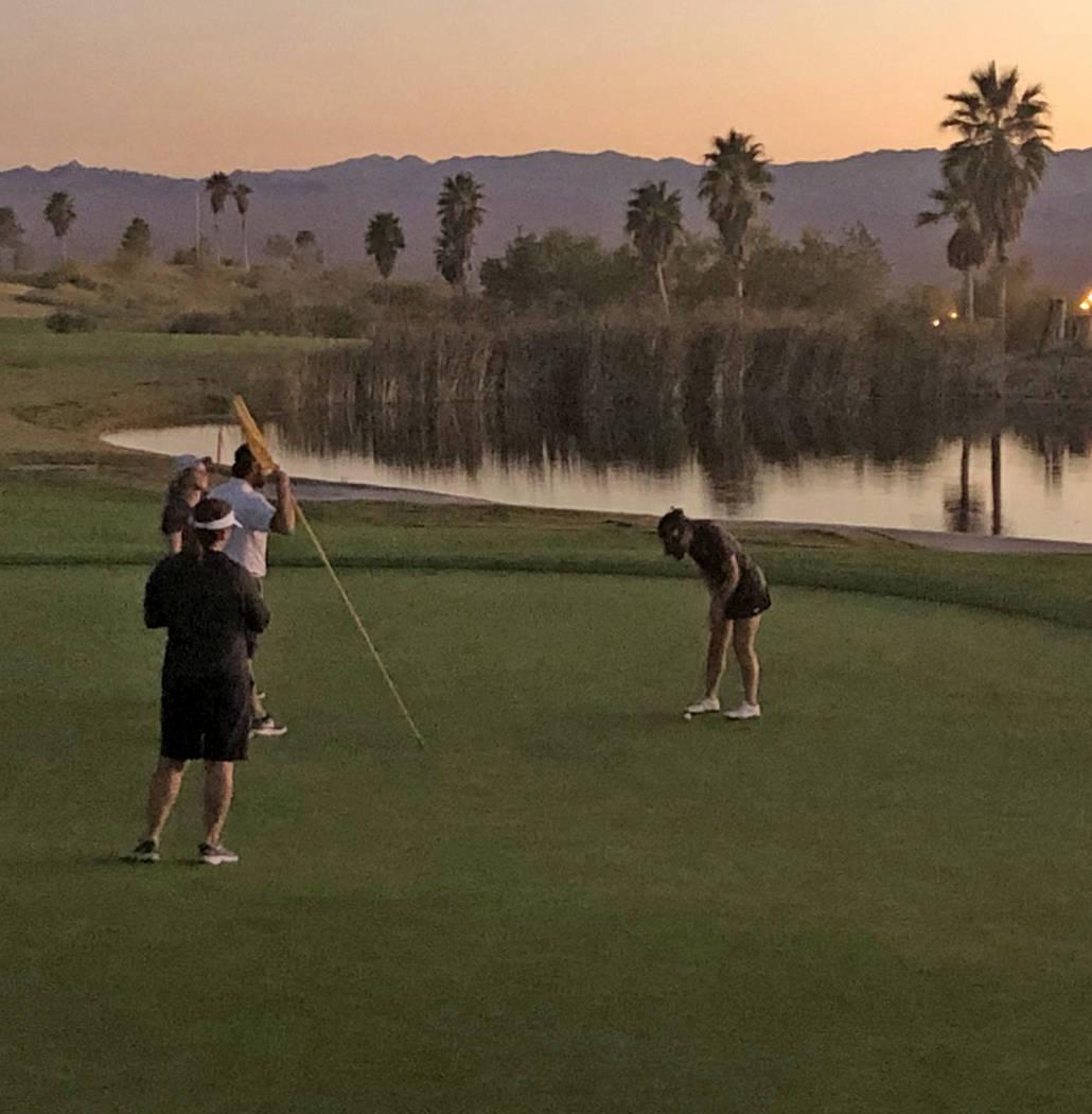 Tom Rysinski/Pahrump Valley Times Pahrump Valley junior Breanne Nygaard taps in the bogey putt ...