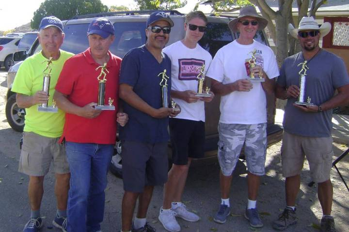 Mike Norton/Special to the Pahrump Valley Times Trophy winners at the Old Miner's Day horseshoe ...