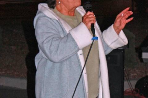 Robin Hebrock/Pahrump Valley Times Karen Jackson, owner of KNYE Radio 95.1 FM, is holding a Ra ...