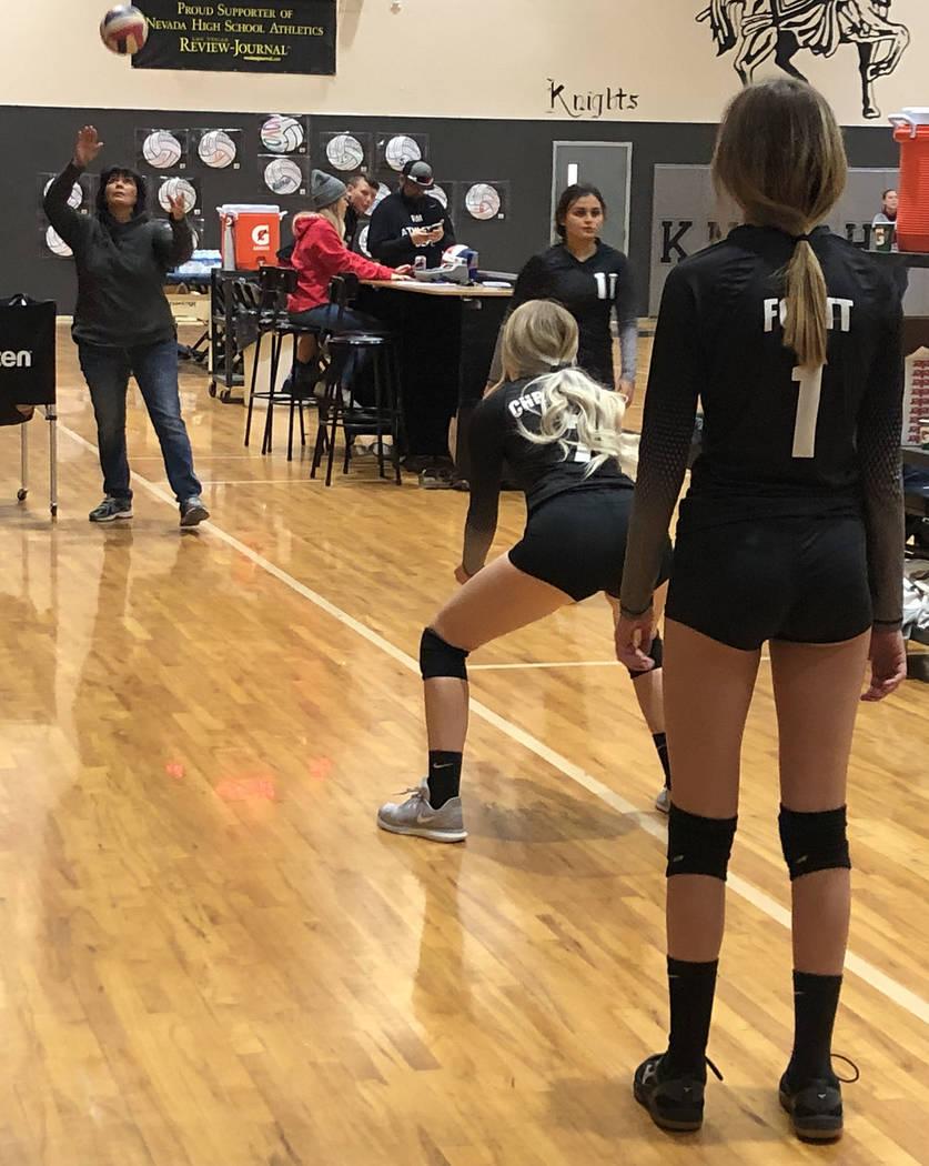 Tom Rysinski/Times-Bonanza & Goldfield News Round Mountain girls volleyball coach Anna Berg run ...