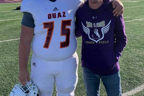 Special to the Pahrump Valley Times Zach Trieb, left, a freshman offensive lineman for Ottawa U ...