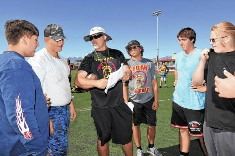 Peter Davis/Pahrump Valley Times file photo Pahrump Valley High School football coach Joe Clayt ...