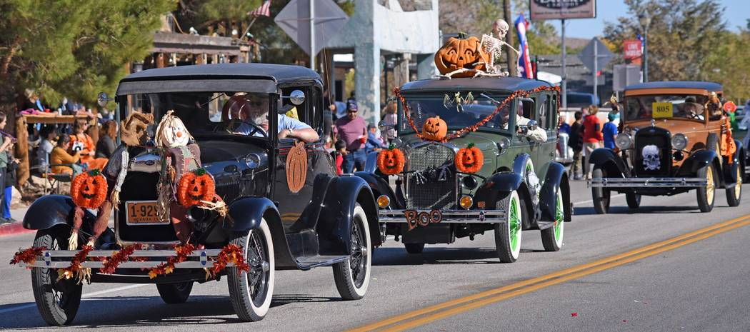 Richard Stephens/Special to the Pahrump Valley Times Antique cars decorated with Halloween pump ...