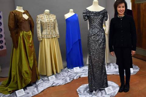 Guy Clifton/Travel Nevada Nevada first lady Kathy Sisolak stands next to the inaugural gown she ...
