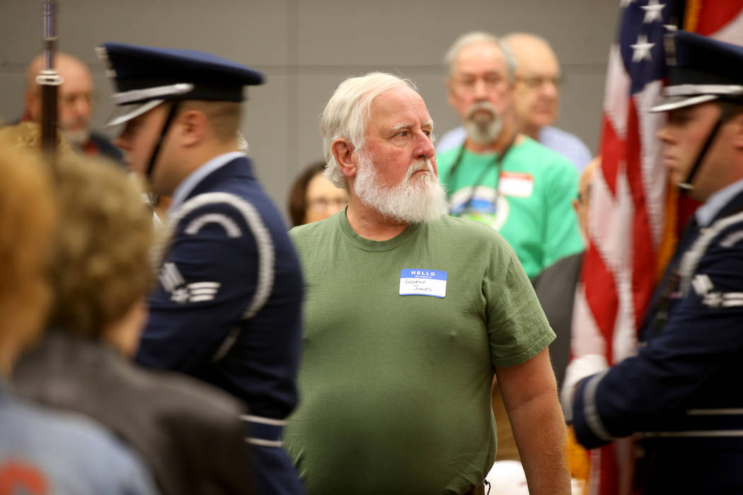 "George ""Rabbit"" Jones, 70, of Las Vegas stands for the Nellis Air Force Base Color Guard during ..."
