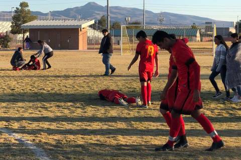 Tom Rysinski/Pahrump Valley Times The agony of defeat was on display Wednesday at Del Sol Acade ...