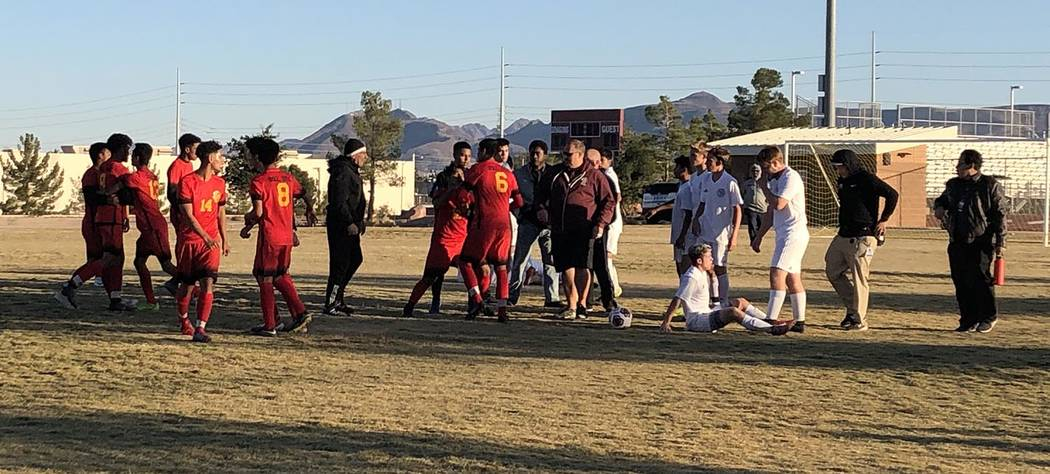 Tom Rysinski/Pahrump Valley Times Del Sol and Pahrump Valley players exchange a few shoves afte ...