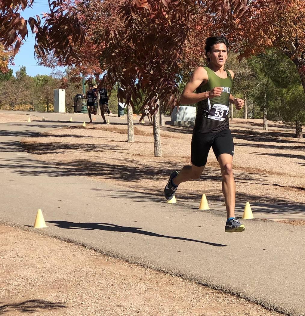 Tom Rysinski/Pahrump Valley Times Beatty High School senior Jose Granados leads the pack early ...