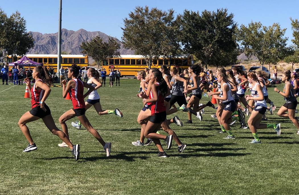 Tom Rysinski/Pahrump Valley Times The 3A Girls race gets underway during the Southern Regional ...
