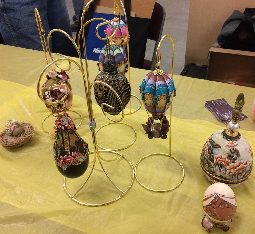 Robin Hebrock/Pahrump Valley Times Local artist Lane Ream had some of her egg art creations on ...