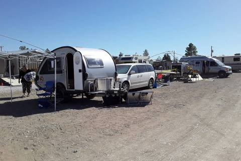 Selwyn Harris/Pahrump Valley Times Officials from Homes on Wheels Alliance leased roughly an ac ...