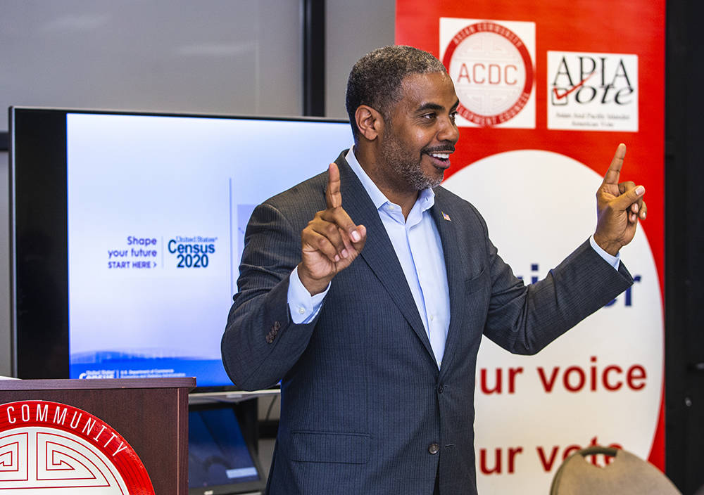 U.S. Rep. Steven Horsford. D-Nev., speaks about his family history to volunteers during an Asia ...