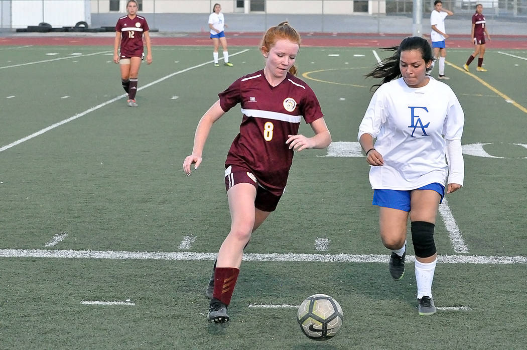 Horace Langford Jr./Pahrump Valley Times Junior Makayla Gent fired 7 shots on goal Monday night ...