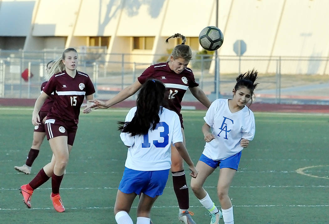 Horace Langford Jr./Pahrump Valley Times Pahrump Valley junior Maddy Souza, shown heading the b ...