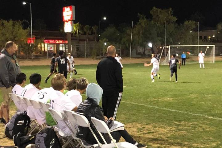 Tom Rysinski/Pahrump Valley Times Pahrump Valley High School boys soccer coach Chris Roberts wa ...