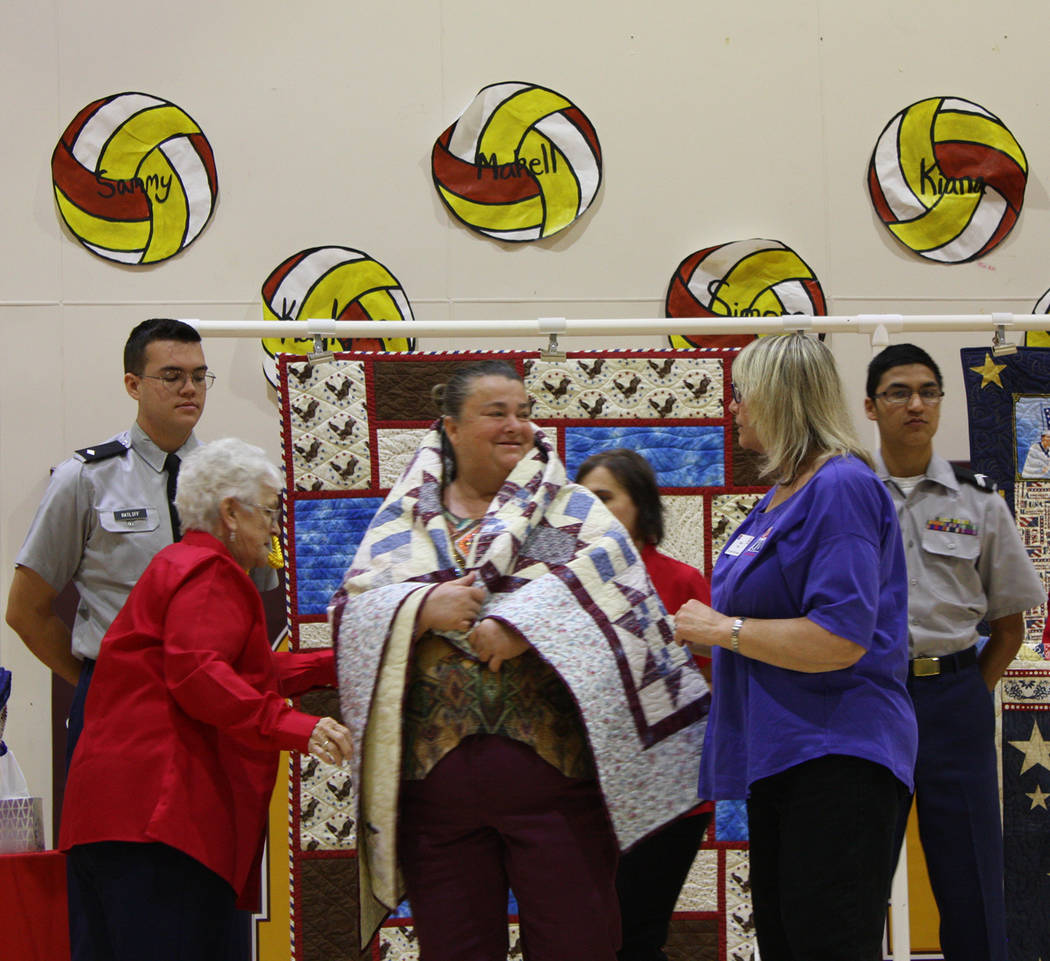 Robin Hebrock/Pahrump Valley Times Army veteran Carree Henry is shown beaming happily after bei ...
