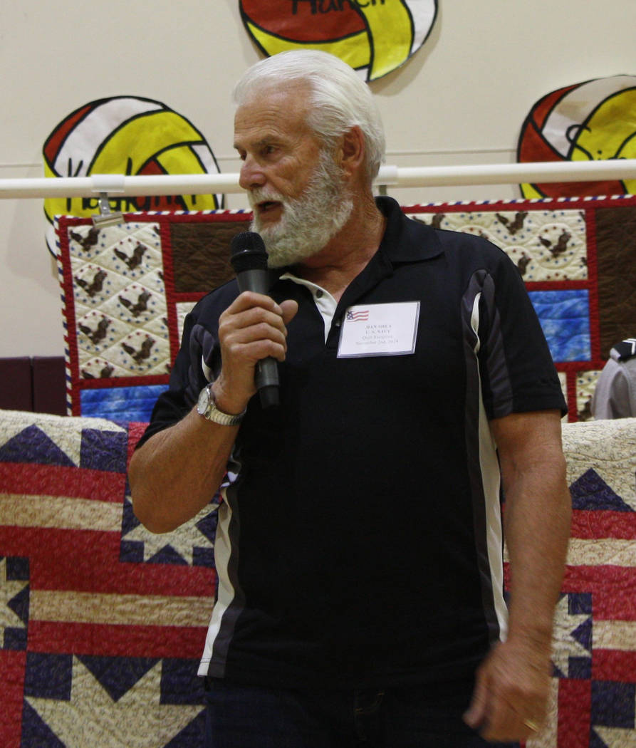 Robin Hebrock/Pahrump Valley Times Dan Shea, a U.S. Navy veteran, addresses the audience at the ...