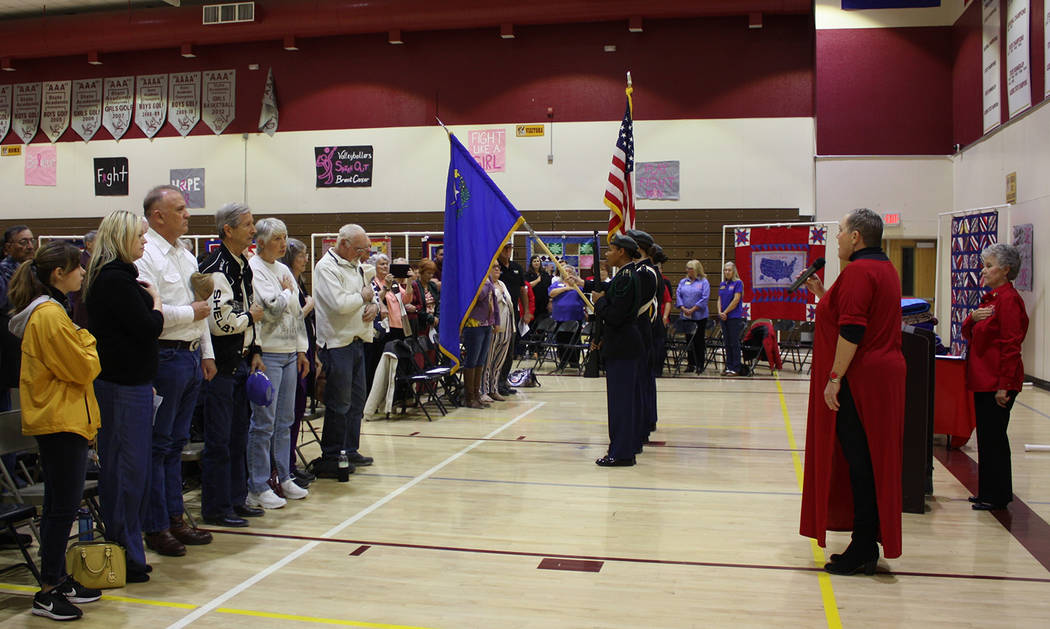 Robin Hebrock/Pahrump Valley Times A large crowd of veteran supporters filled the Pahrump Valle ...