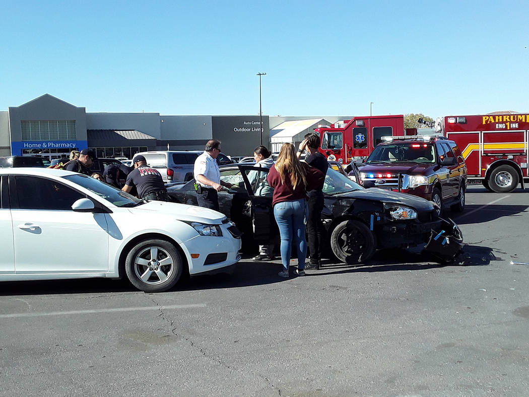 Selwyn Harris/Pahrump Valley Times At least one person was transported to Desert View Hospital ...