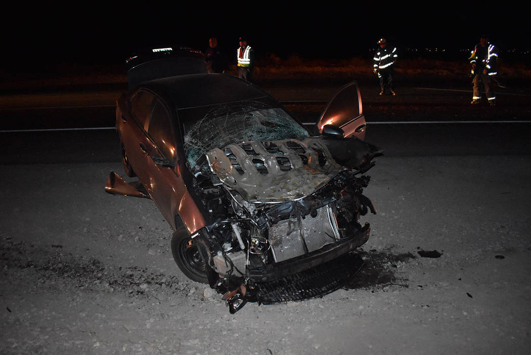 Special to the Pahrump Valley Times A vehicle sustained extensive damage after striking and kil ...