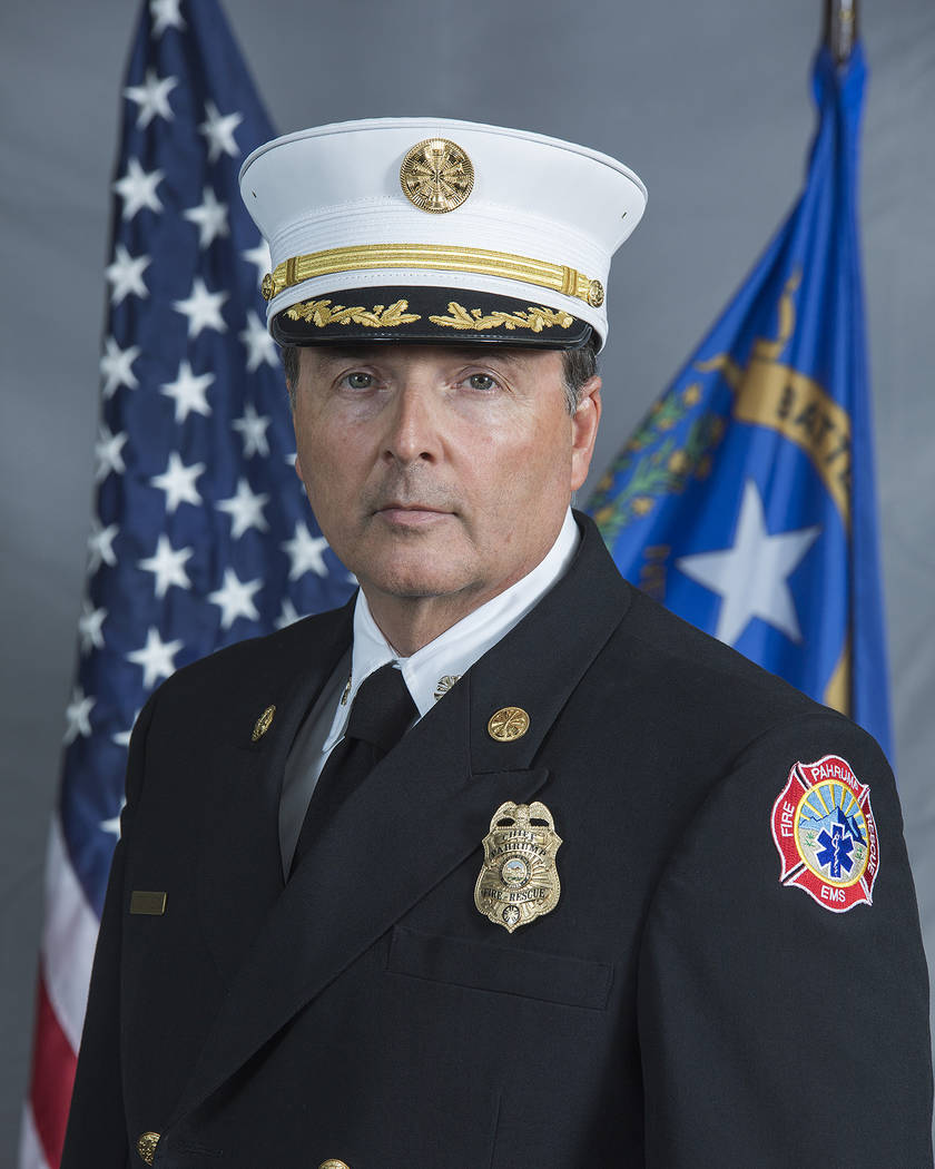 Special to the Pahrump Valley Times Pahrump Valley Fire and Rescue Service Chief Scott Lewis tr ...
