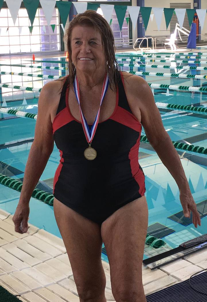 Special to the Pahrump Valley Times Cathy Behrens of Pahrump swam the 50-yard freestyle in 1 mi ...