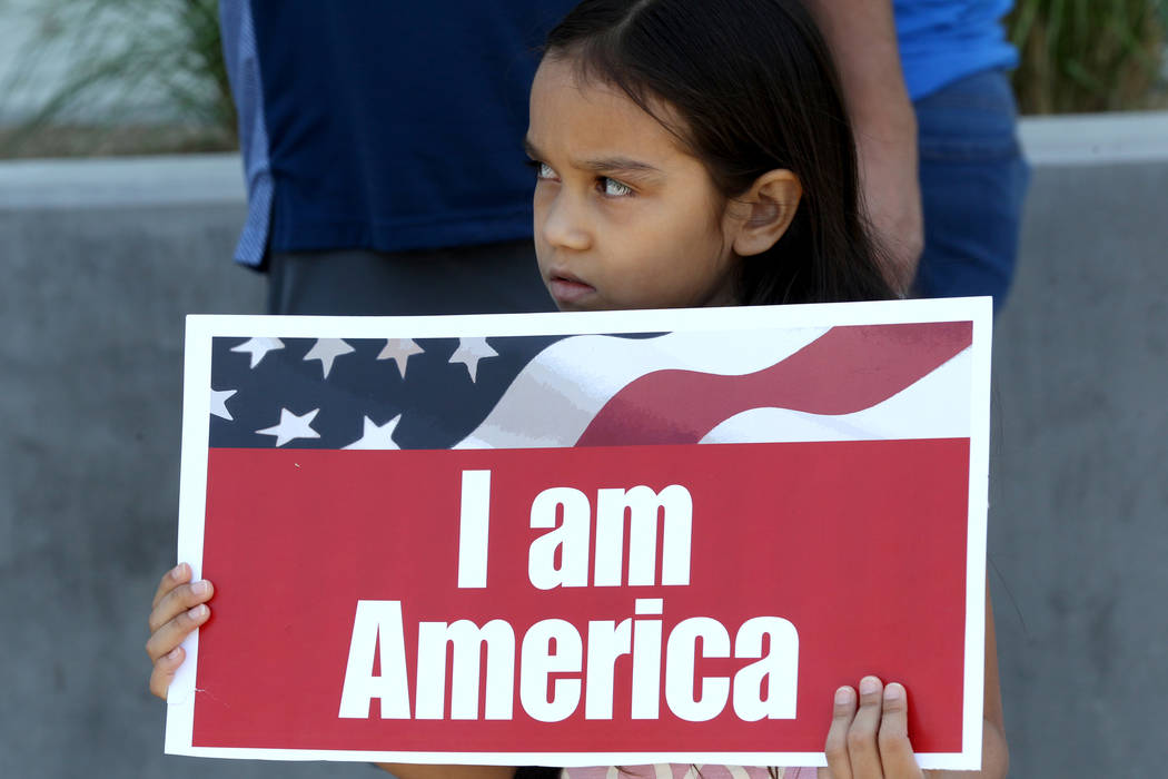K.M. Cannon/Las Vegas Review-Journal Protesters including Cammy Castillo, 9, during a National ...