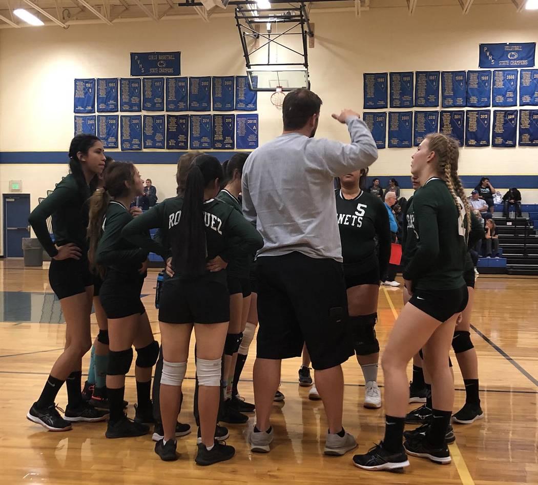 Tom Rysinski/Pahrump Valley Times Beatty High School girls volleyball coach Steve Sullivan talk ...