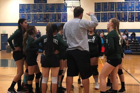 Tom Rysinski/Pahrump Valley Times Beatty High School girls volleyball coach Steve Sullivan talk ...