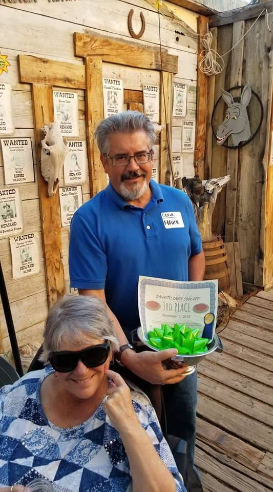 Happy Burro Mark Haught from Pahrump, who was the Beatty Days red chili cook-off winner, took ...