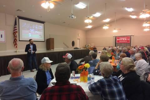 Robin Hebrock/Pahrump Valley Times Nevada Assemblyman Greg Hafen II is shown addressing a crowd ...