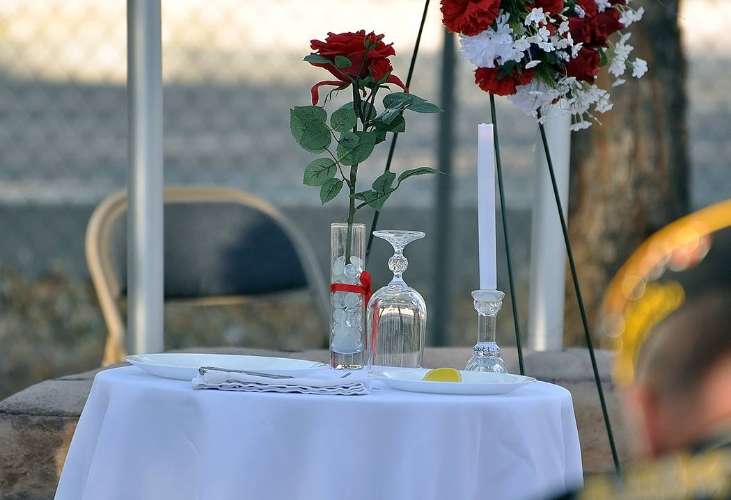 Horace Langford Jr./Pahrump Valley Times The solitary table, complete with lemon, salt and can ...