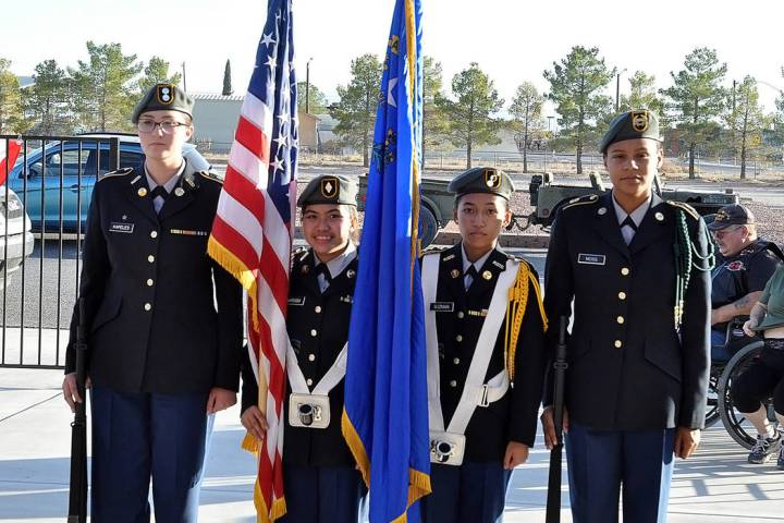 Horace Langford Jr./Pahrump Valley Times The Pahrump Valley High School JROTC posts the colors ...
