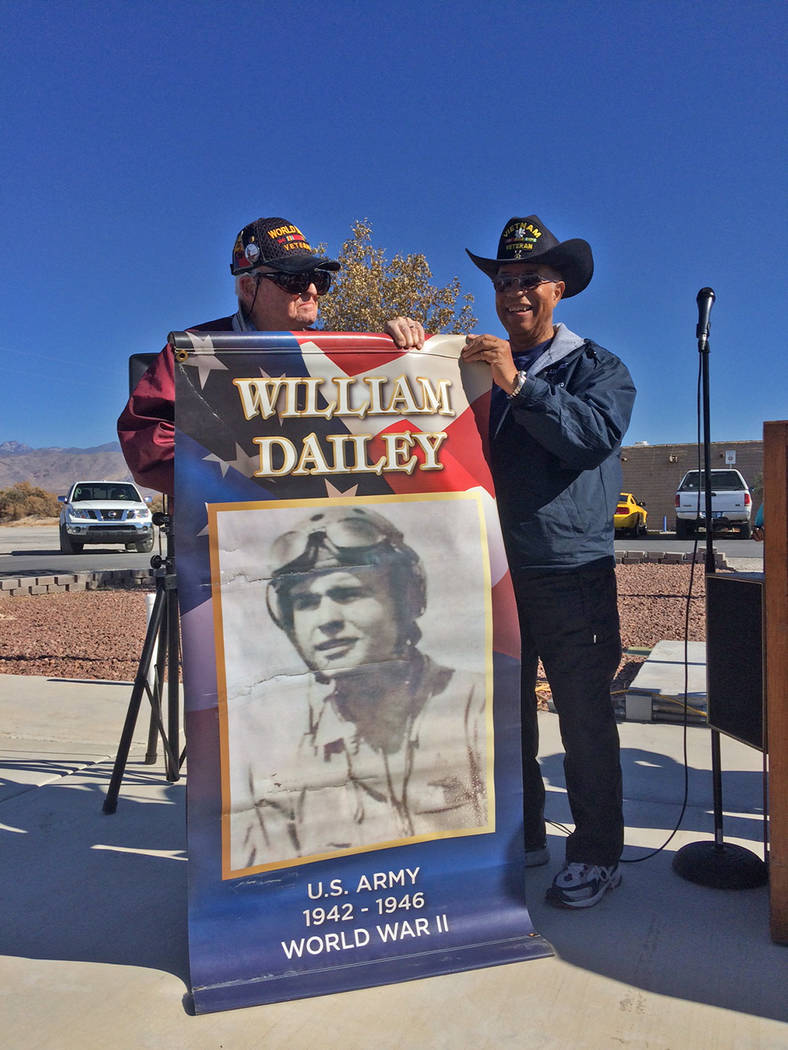 "Robin Hebrock/Pahrump Valley Times World War II veteran William ""Bill"" Dailey, left, stands wit ..."