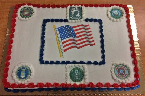 Robin Hebrock/Pahrump Valley Times A cake bearing the seals of each of the branches of the U.S. ...