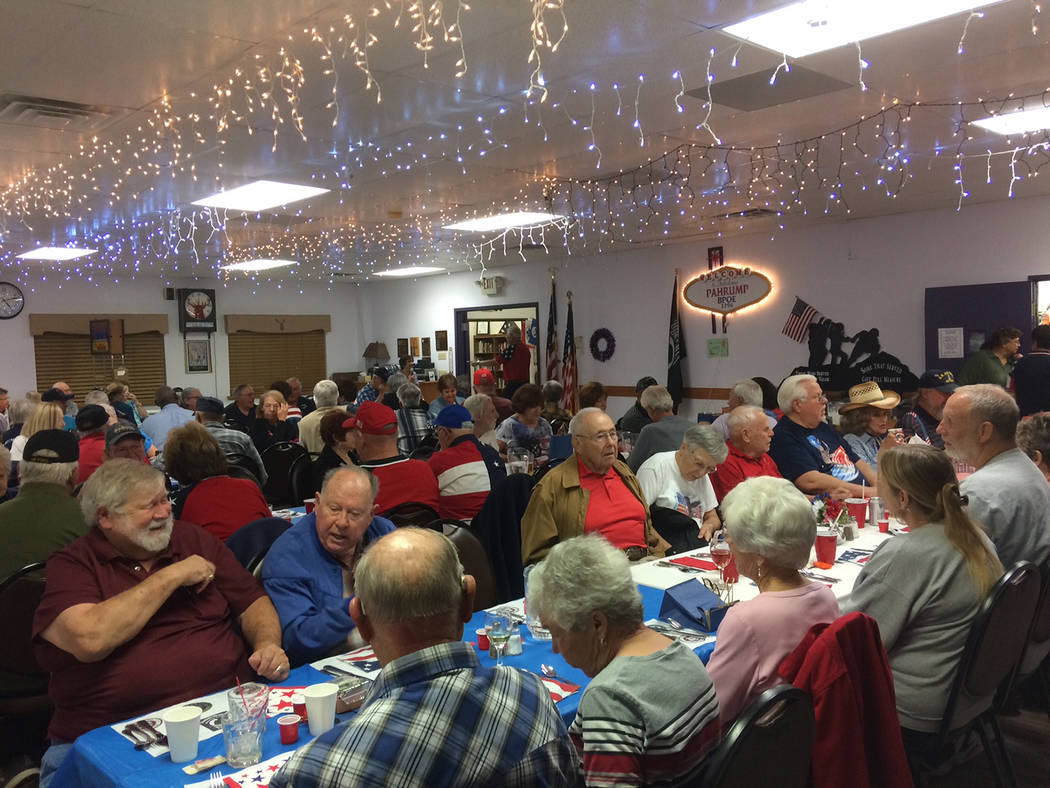 Robin Hebrock/Pahrump Valley Times The Pahrump Elks Lodge #2796 was packed for Veterans Day on ...